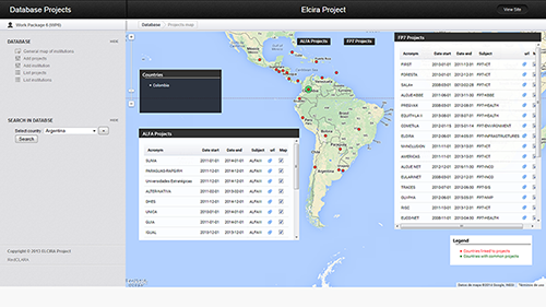 ELCIRA's interactive map shows Research Groups from Europe and Latin America